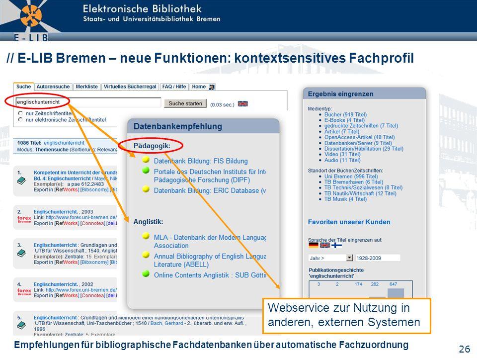 26 // E-LIB Bremen – neue Funktionen: kontextsensitives Fachprofil Empfehlungen für bibliographische Fachdatenbanken über automatische Fachzuordnung W