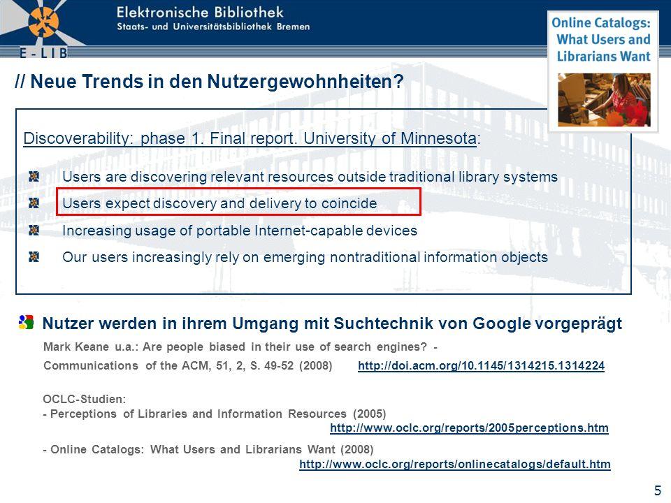 26 // E-LIB Bremen – neue Funktionen: kontextsensitives Fachprofil Empfehlungen für bibliographische Fachdatenbanken über automatische Fachzuordnung Webservice zur Nutzung in anderen, externen Systemen