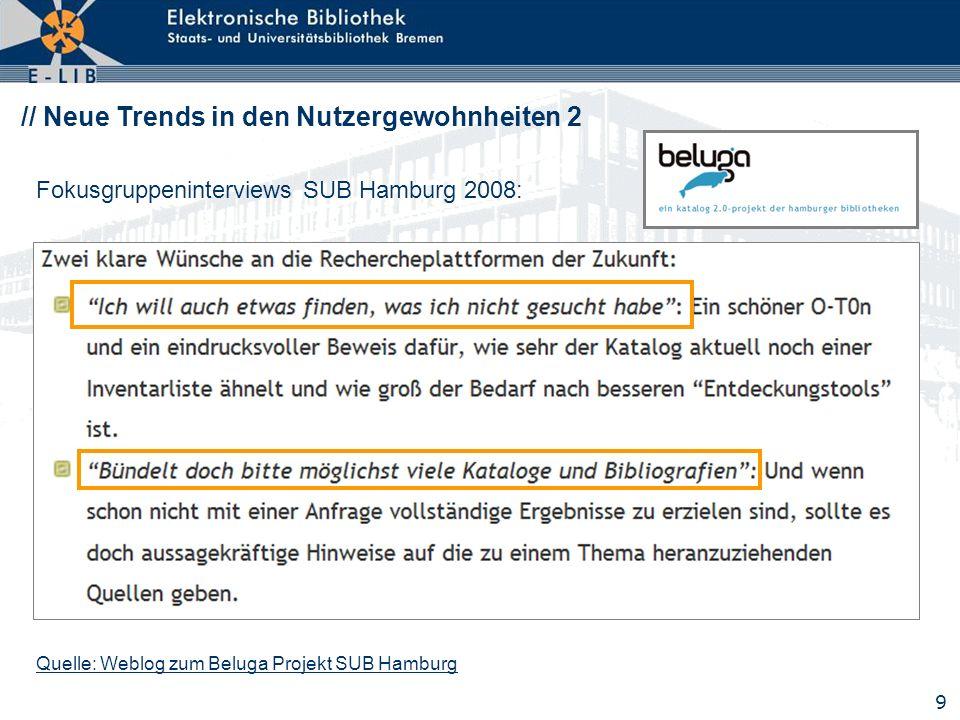 9 // Neue Trends in den Nutzergewohnheiten 2 Fokusgruppeninterviews SUB Hamburg 2008: Quelle: Weblog zum Beluga Projekt SUB Hamburg