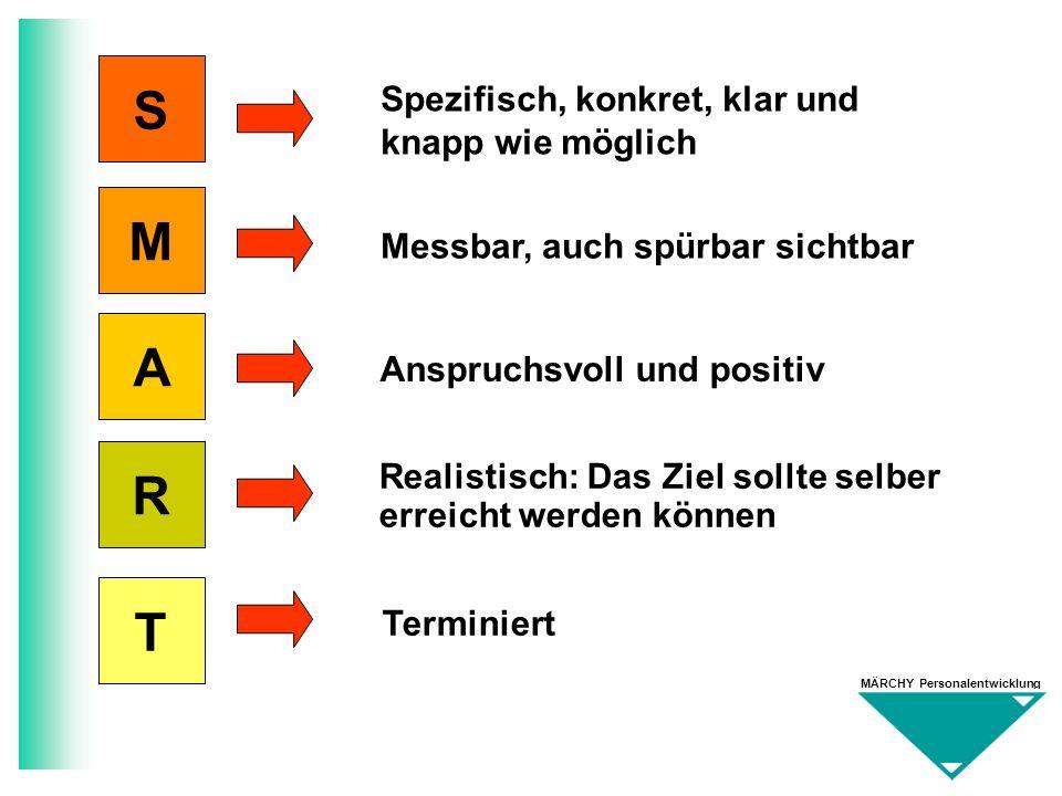 MÄRCHY Personalentwicklung S M A R T Spezifisch, konkret, klar und knapp wie möglich Messbar, auch spürbar sichtbar Anspruchsvoll und positiv Realisti