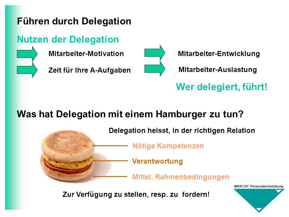 MÄRCHY Personalentwicklung Führen durch Delegation Nutzen der Delegation Zeit für Ihre A-Aufgaben Mitarbeiter-EntwicklungMitarbeiter-Motivation Mitarb