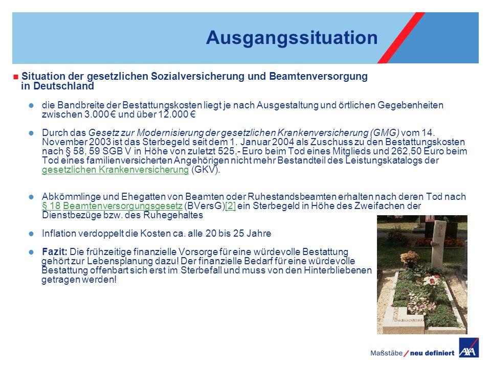Situation der gesetzlichen Sozialversicherung und Beamtenversorgung in Deutschland die Bandbreite der Bestattungskosten liegt je nach Ausgestaltung und örtlichen Gegebenheiten zwischen 3.000 und über 12.000 Durch das Gesetz zur Modernisierung der gesetzlichen Krankenversicherung (GMG) vom 14.