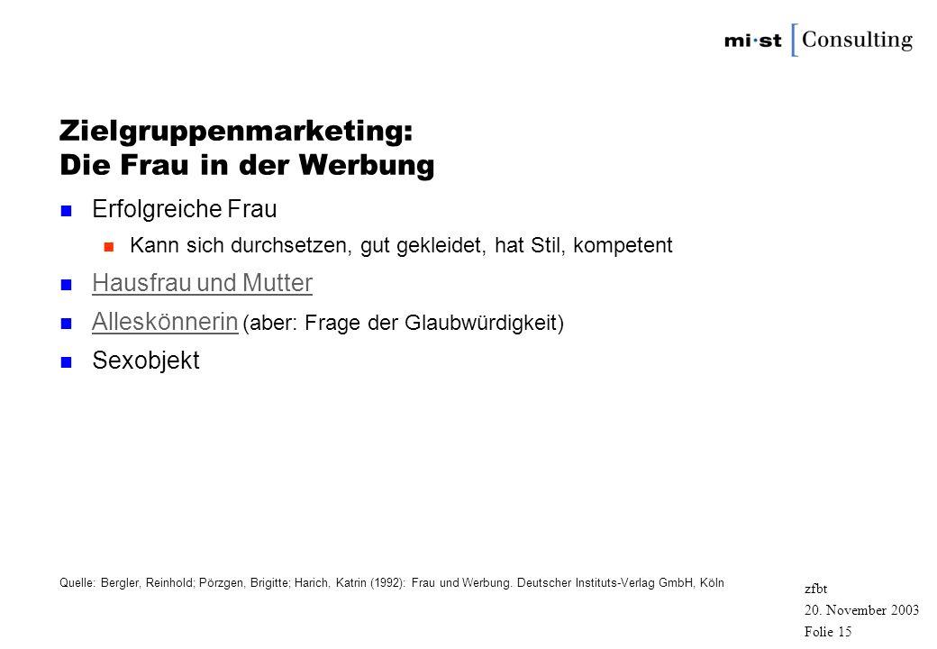 20. November 2003 zfbt Folie 14 Zielgruppenmarketing: Der Mann in der Werbung n Erfolgreicher Mann n Sachlich, unromantisch, sportlich, erfolgreich Sa