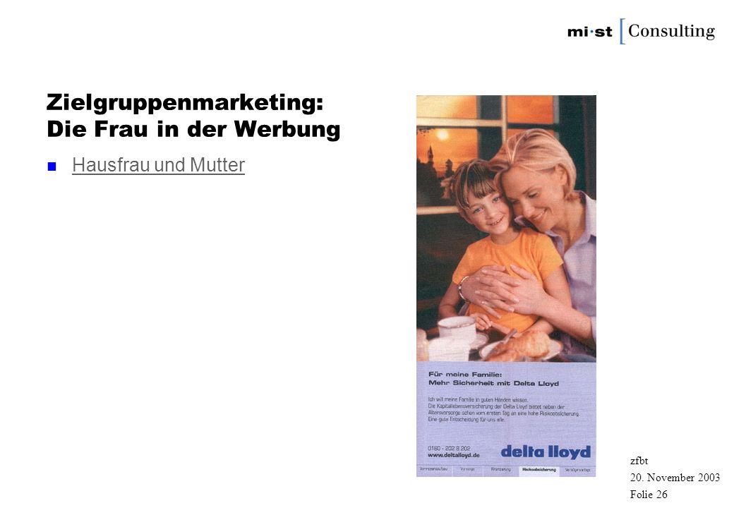 20. November 2003 zfbt Folie 25 Zielgruppenmarketing: Der Mann in der Werbung n Erfolgreicher Mann Erfolgreicher Mann