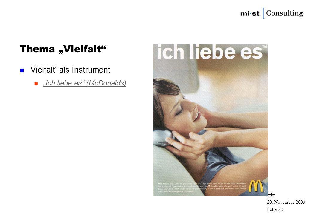 20. November 2003 zfbt Folie 27 Zielgruppenmarketing: Die Frau in der Werbung n Alleskönnerin Alleskönnerin