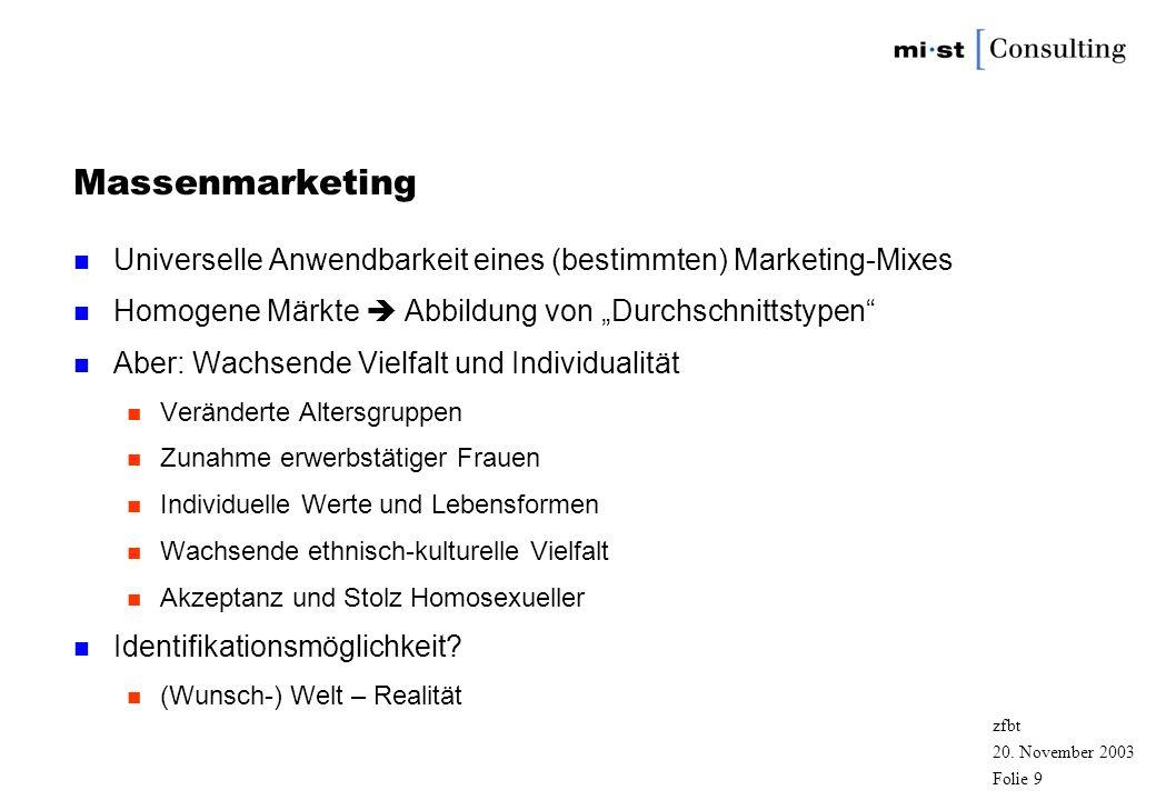 20. November 2003 zfbt Folie 8 Marketing n Werbung Marketinginstrument n Varianten des Marketings n Massenmarketing n Zielgruppenmarketing n Diversity