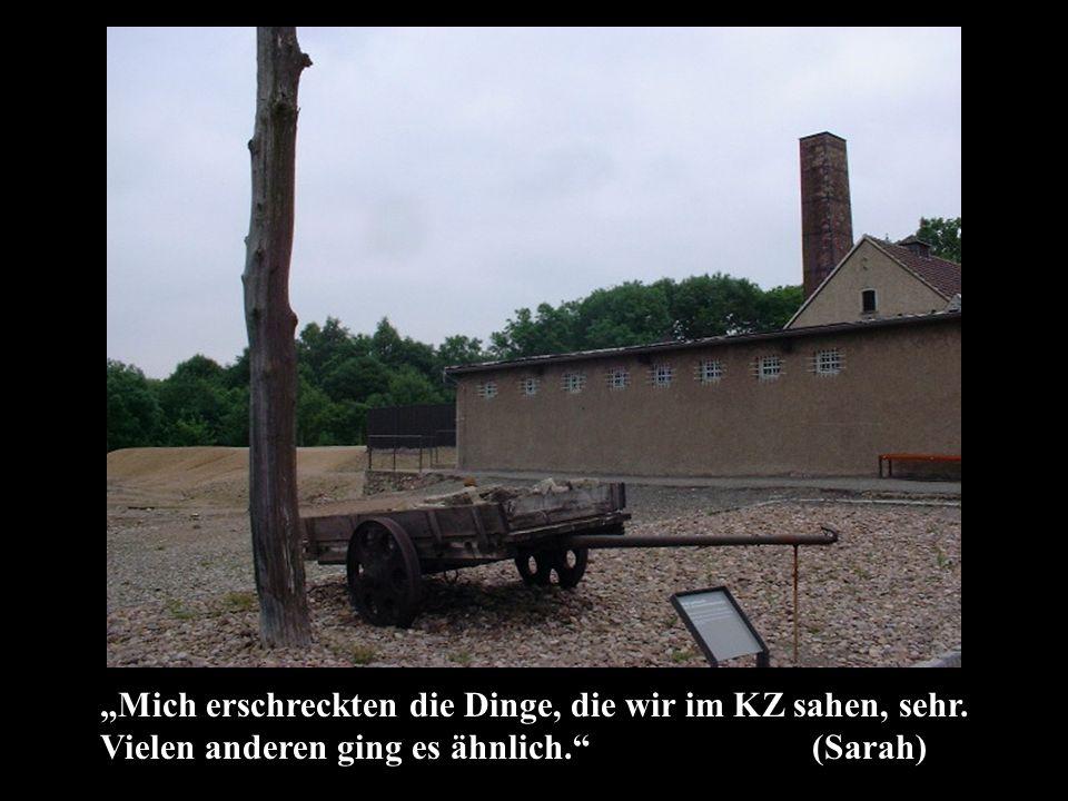 Mich erschreckten die Dinge, die wir im KZ sahen, sehr. Vielen anderen ging es ähnlich. (Sarah)