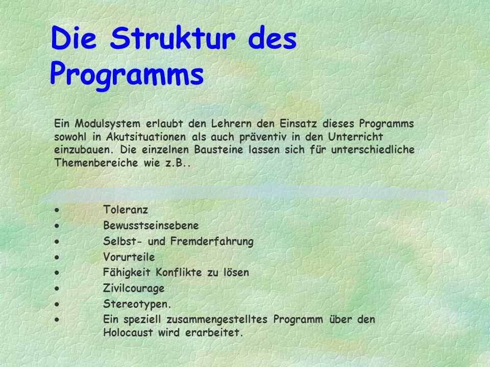 Die Struktur des Programms Ein Modulsystem erlaubt den Lehrern den Einsatz dieses Programms sowohl in Akutsituationen als auch präventiv in den Unterricht einzubauen.