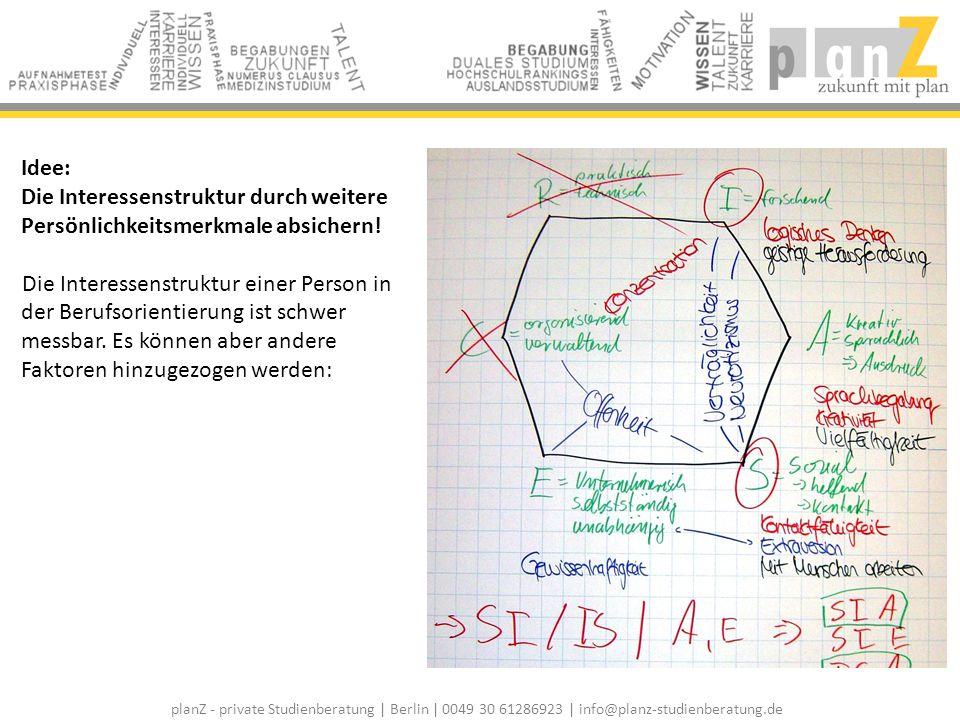 planZ - private Studienberatung | Berlin | 0049 30 61286923 | info@planz-studienberatung.de Idee: Die Interessenstruktur durch weitere Persönlichkeits