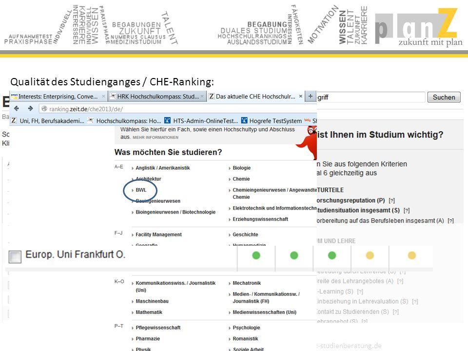 planZ - private Studienberatung | Berlin | 0049 30 61286923 | info@planz-studienberatung.de Qualität des Studienganges / CHE-Ranking: