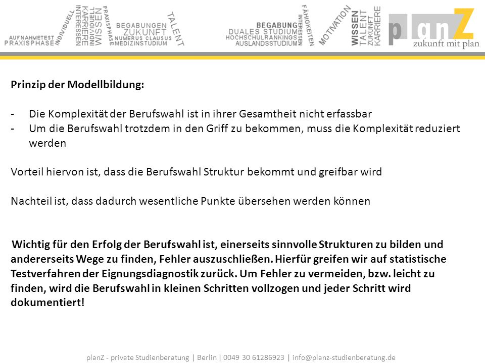 planZ - private Studienberatung | Berlin | 0049 30 61286923 | info@planz-studienberatung.de Zulassungschancen / Numerus Clausus: