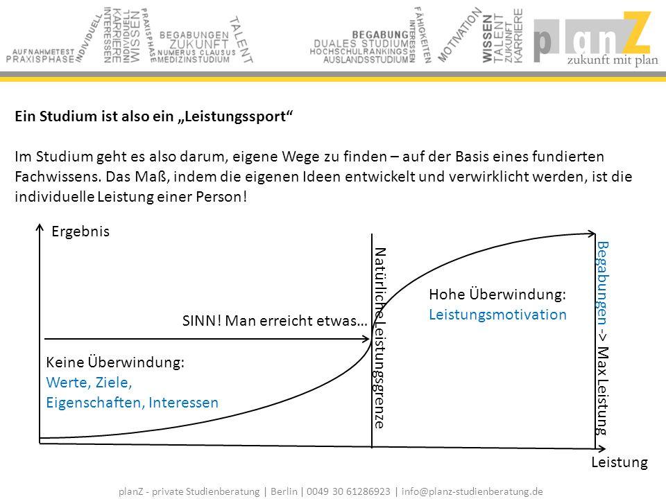 planZ - private Studienberatung | Berlin | 0049 30 61286923 | info@planz-studienberatung.de Ein Studium ist also ein Leistungssport Im Studium geht es