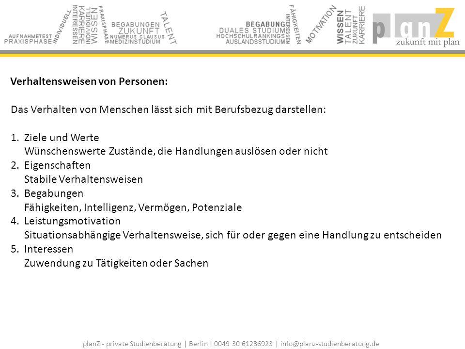 planZ - private Studienberatung | Berlin | 0049 30 61286923 | info@planz-studienberatung.de Interessenstruktur: Die Interessenstruktur ist das Instrument zur beruflichen Orientierung und zur Studienwahl.