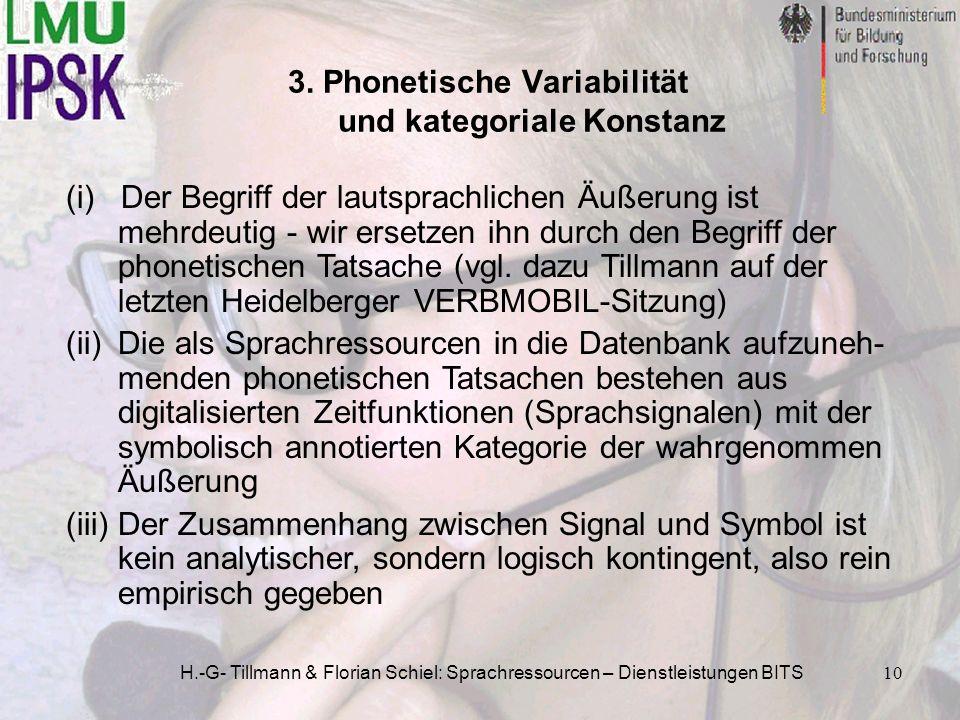 H.-G- Tillmann & Florian Schiel: Sprachressourcen – Dienstleistungen BITS10 3. Phonetische Variabilität und kategoriale Konstanz (i) Der Begriff der l