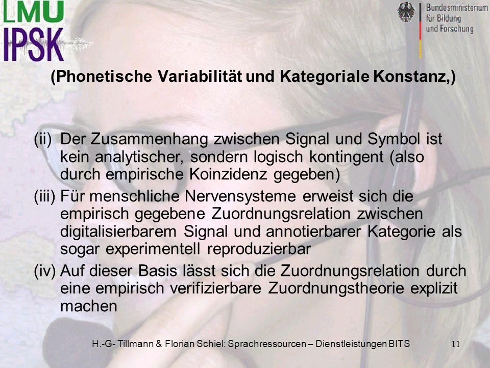 H.-G- Tillmann & Florian Schiel: Sprachressourcen – Dienstleistungen BITS11 (Phonetische Variabilität und Kategoriale Konstanz,) (ii)Der Zusammenhang