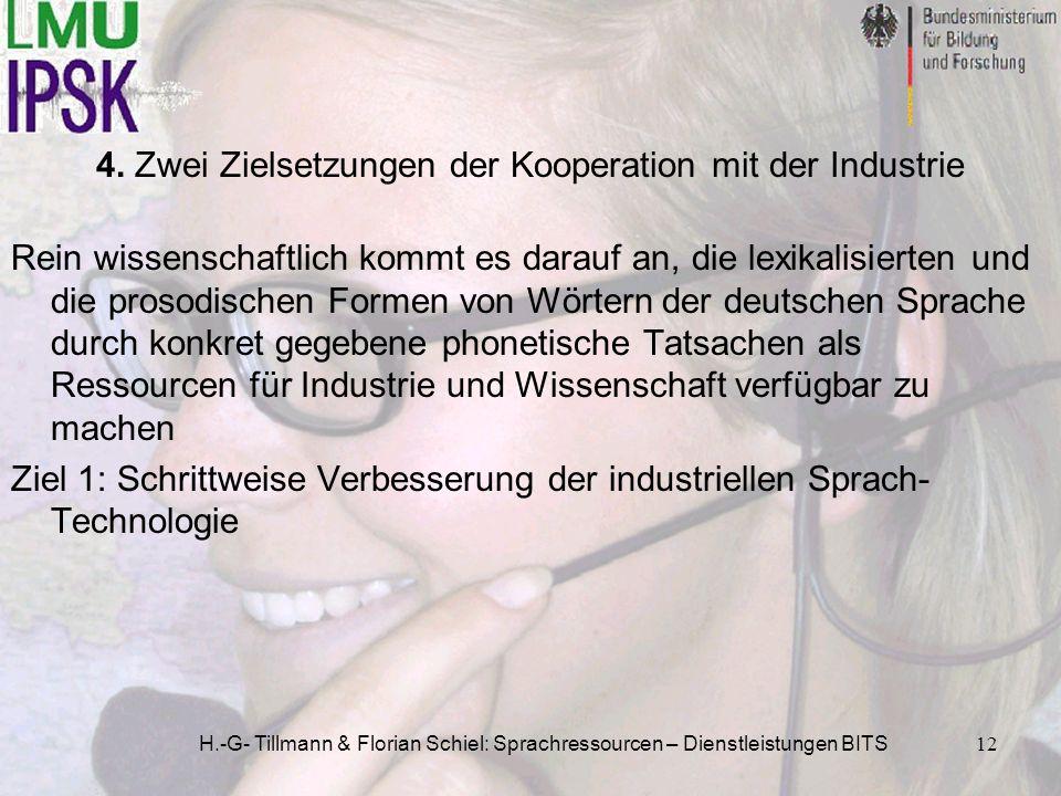H.-G- Tillmann & Florian Schiel: Sprachressourcen – Dienstleistungen BITS12 Rein wissenschaftlich kommt es darauf an, die lexikalisierten und die pros