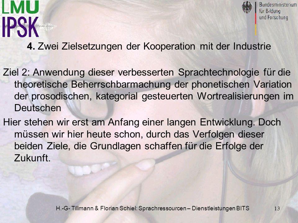 H.-G- Tillmann & Florian Schiel: Sprachressourcen – Dienstleistungen BITS13 Ziel 2: Anwendung dieser verbesserten Sprachtechnologie für die theoretisc