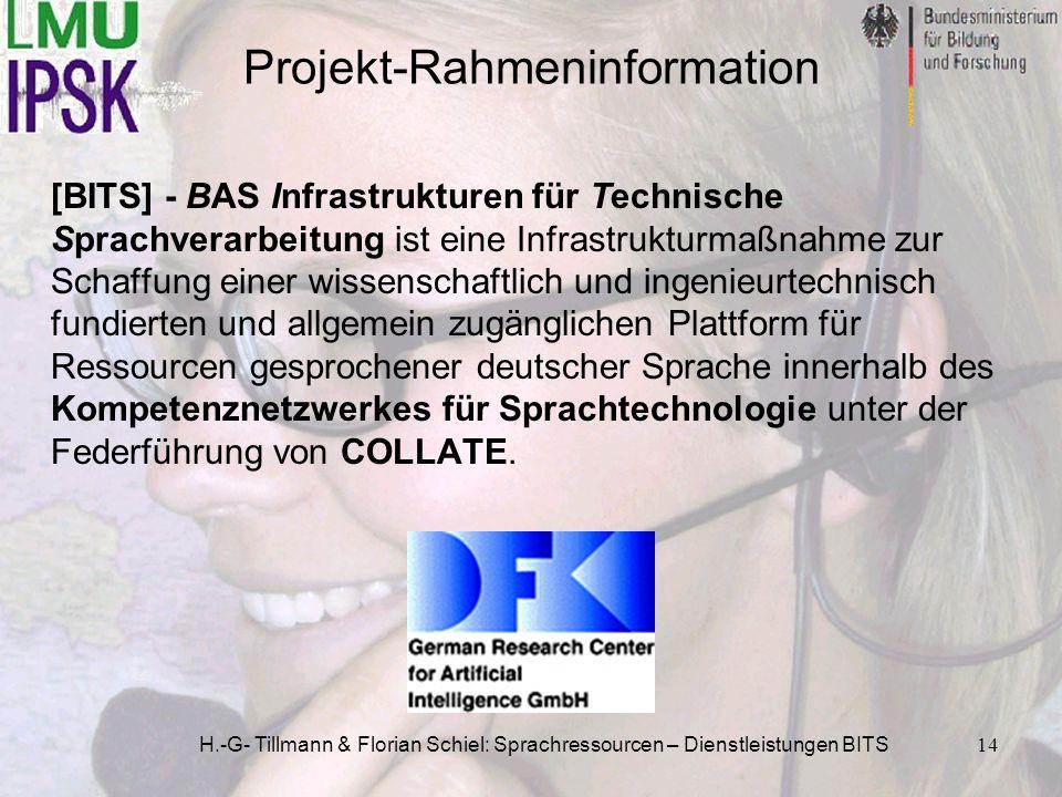 H.-G- Tillmann & Florian Schiel: Sprachressourcen – Dienstleistungen BITS14 [BITS] - BAS Infrastrukturen für Technische Sprachverarbeitung ist eine In