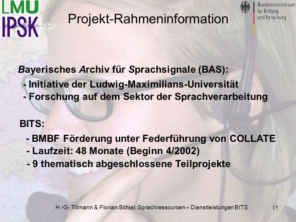 H.-G- Tillmann & Florian Schiel: Sprachressourcen – Dienstleistungen BITS15 Bayerisches Archiv für Sprachsignale (BAS): Projekt-Rahmeninformation BITS