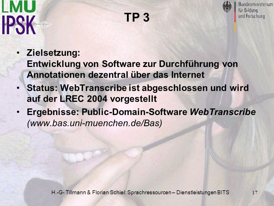 H.-G- Tillmann & Florian Schiel: Sprachressourcen – Dienstleistungen BITS17 TP 3 Zielsetzung: Entwicklung von Software zur Durchführung von Annotation