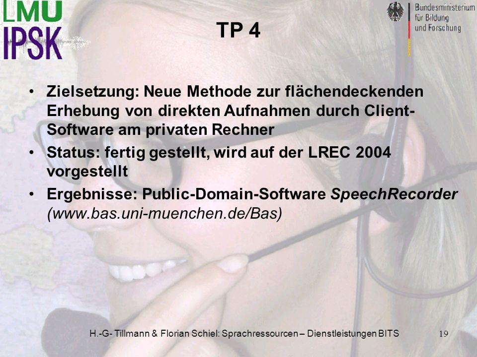H.-G- Tillmann & Florian Schiel: Sprachressourcen – Dienstleistungen BITS19 TP 4 Zielsetzung: Neue Methode zur flächendeckenden Erhebung von direkten