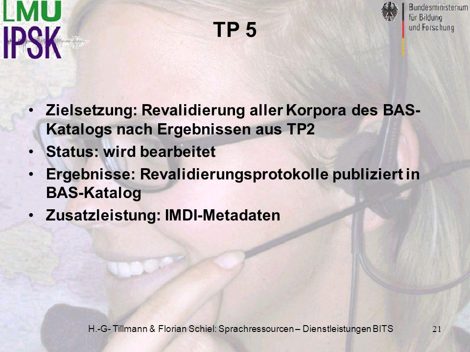 H.-G- Tillmann & Florian Schiel: Sprachressourcen – Dienstleistungen BITS21 TP 5 Zielsetzung: Revalidierung aller Korpora des BAS- Katalogs nach Ergeb