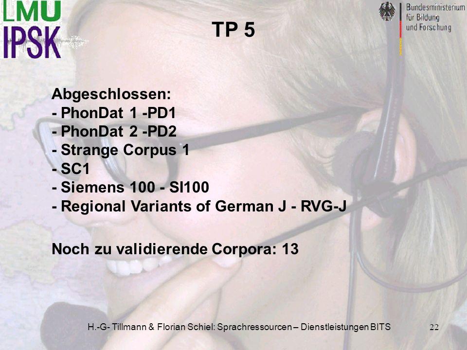 H.-G- Tillmann & Florian Schiel: Sprachressourcen – Dienstleistungen BITS22 TP 5 Abgeschlossen: - PhonDat 1 -PD1 - PhonDat 2 -PD2 - Strange Corpus 1 -