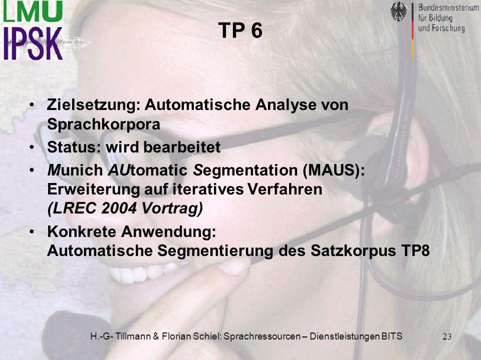 H.-G- Tillmann & Florian Schiel: Sprachressourcen – Dienstleistungen BITS23 TP 6 Zielsetzung: Automatische Analyse von Sprachkorpora Status: wird bear