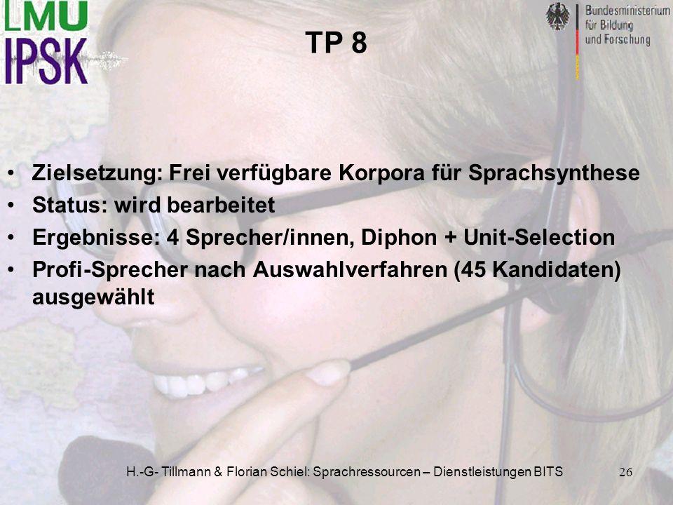 H.-G- Tillmann & Florian Schiel: Sprachressourcen – Dienstleistungen BITS26 TP 8 Zielsetzung: Frei verfügbare Korpora für Sprachsynthese Status: wird