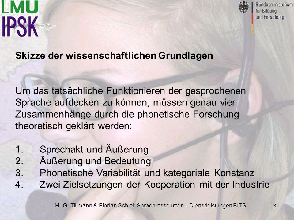 H.-G- Tillmann & Florian Schiel: Sprachressourcen – Dienstleistungen BITS3 Skizze der wissenschaftlichen Grundlagen Um das tatsächliche Funktionieren
