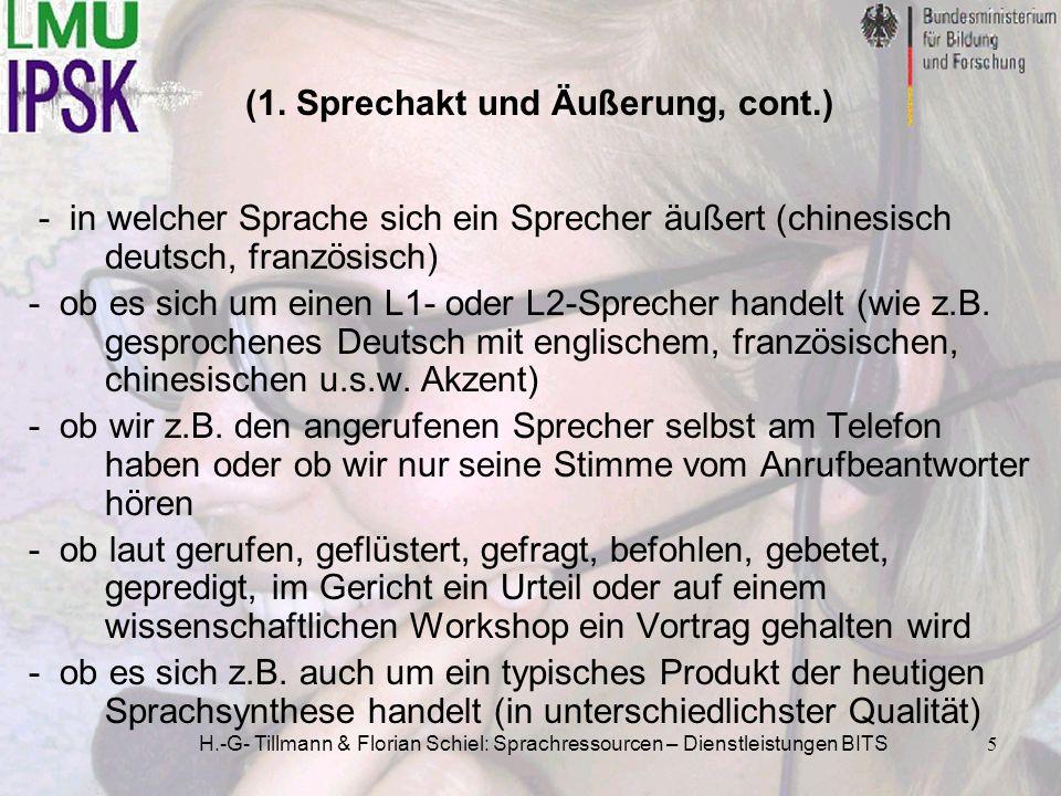 H.-G- Tillmann & Florian Schiel: Sprachressourcen – Dienstleistungen BITS5 (1. Sprechakt und Äußerung, cont.) - in welcher Sprache sich ein Sprecher ä