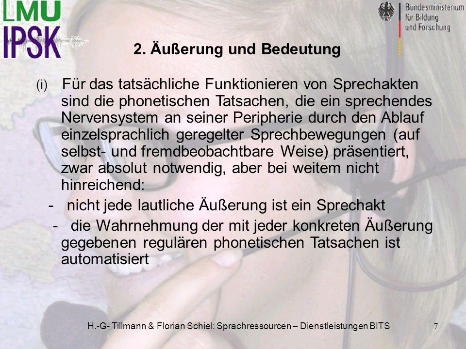 H.-G- Tillmann & Florian Schiel: Sprachressourcen – Dienstleistungen BITS7 2. Äußerung und Bedeutung (i) Für das tatsächliche Funktionieren von Sprech
