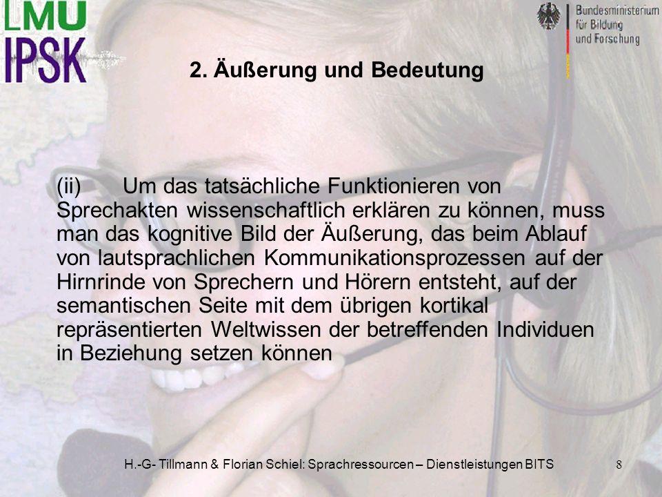 H.-G- Tillmann & Florian Schiel: Sprachressourcen – Dienstleistungen BITS8 (ii)Um das tatsächliche Funktionieren von Sprechakten wissenschaftlich erkl