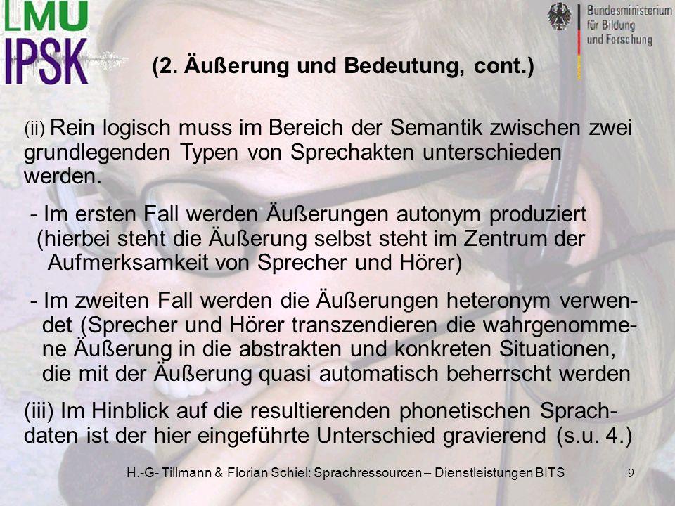 H.-G- Tillmann & Florian Schiel: Sprachressourcen – Dienstleistungen BITS9 (2. Äußerung und Bedeutung, cont.) (ii) Rein logisch muss im Bereich der Se