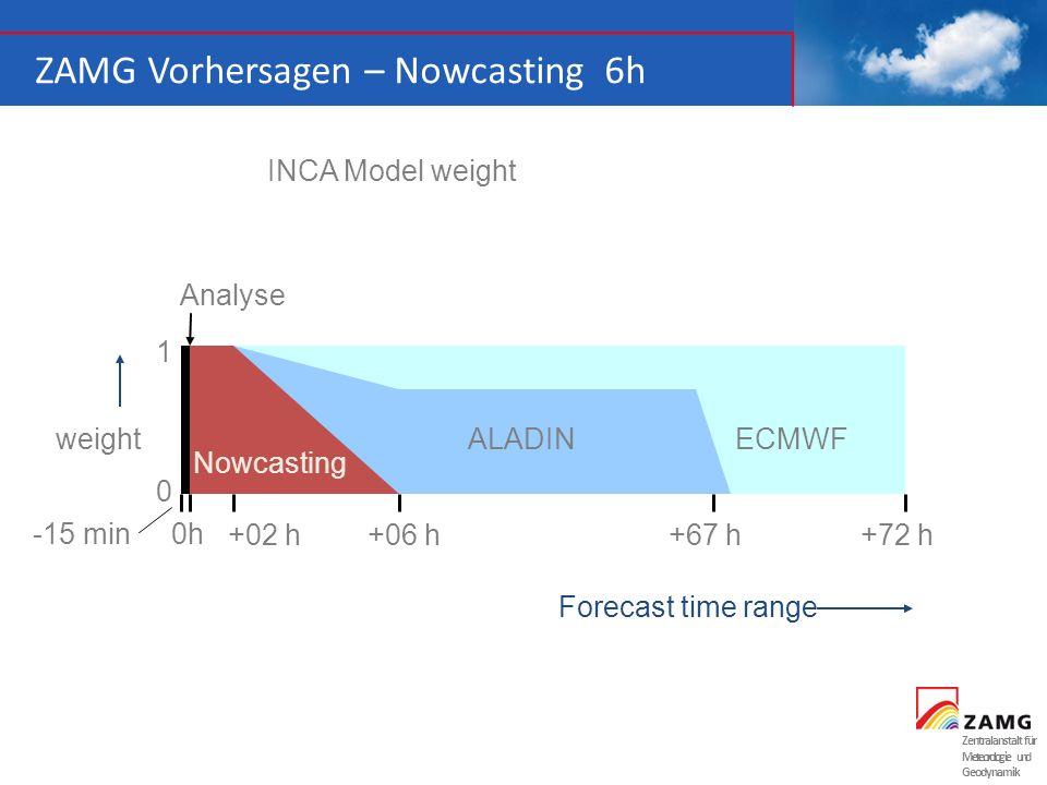 Zentralanstalt für Meteorologie und Geodynamik ZAMG Vorhersagen – Nowcasting 6h weight 1 +06 h+72 h 0 Forecast time range +67 h+02 h 0h-15 min ALADINE