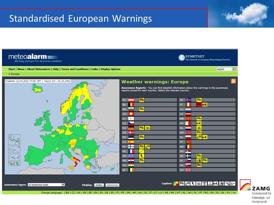 Zentralanstalt für Meteorologie und Geodynamik Standardised European Warnings