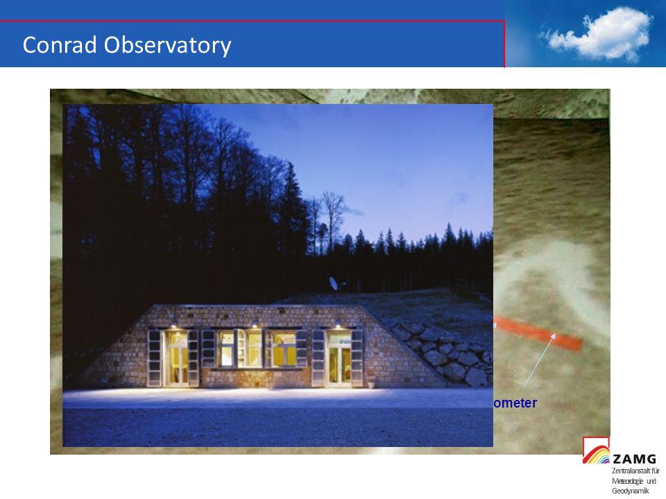 Zentralanstalt für Meteorologie und Geodynamik Conrad Observatory 145 m Tunnel Eingang 1.044 m 3 Boreholes 100 m deep 1 Borehole 50 m deep Gravity Met