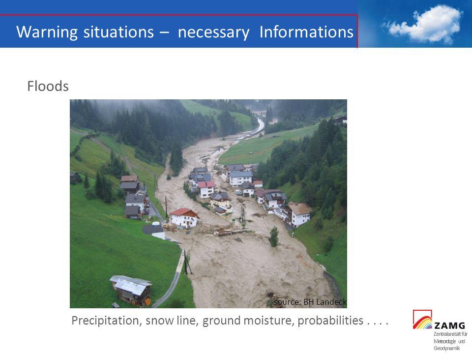 Zentralanstalt für Meteorologie und Geodynamik Floods Precipitation, snow line, ground moisture, probabilities.... source: BH Landeck Warning situatio