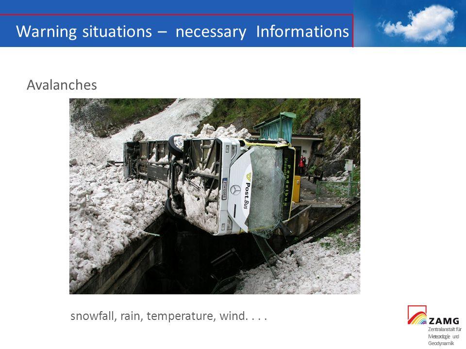 Zentralanstalt für Meteorologie und Geodynamik Warning situations – necessary Informations Wind storm Speed, direction, impact, preconditions, behaviour...
