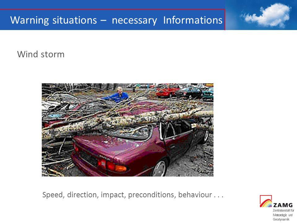 Zentralanstalt für Meteorologie und Geodynamik Warning situations – necessary Informations Wind storm Speed, direction, impact, preconditions, behavio