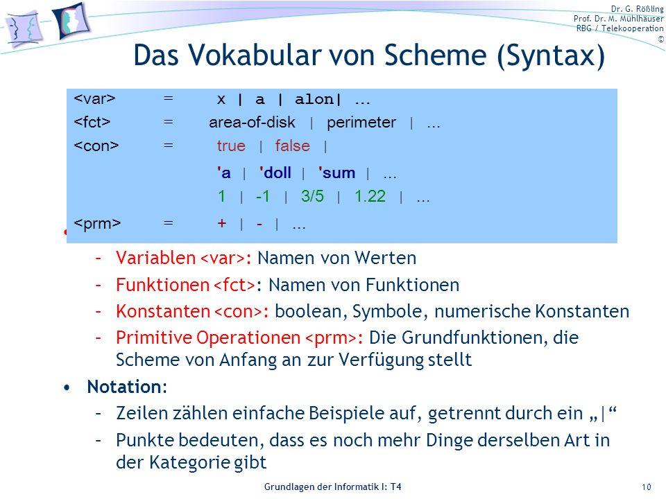 Dr. G. Rößling Prof. Dr. M. Mühlhäuser RBG / Telekooperation © Grundlagen der Informatik I: T4 Das Vokabular von Scheme (Syntax) Vier Kategorien von W