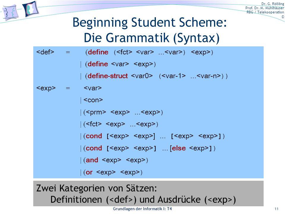 Dr. G. Rößling Prof. Dr. M. Mühlhäuser RBG / Telekooperation © Grundlagen der Informatik I: T4 Beginning Student Scheme: Die Grammatik (Syntax) 11 = (