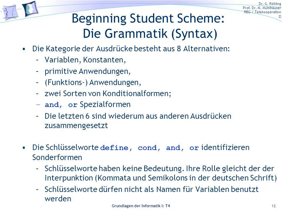 Dr. G. Rößling Prof. Dr. M. Mühlhäuser RBG / Telekooperation © Grundlagen der Informatik I: T4 Beginning Student Scheme: Die Grammatik (Syntax) Die Ka