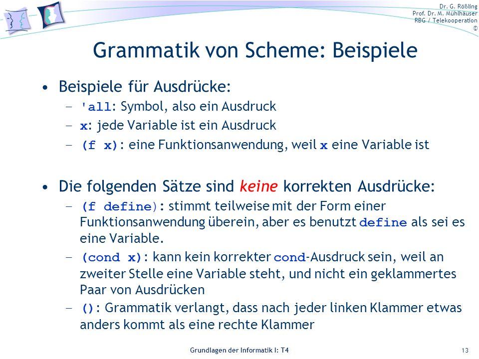 Dr. G. Rößling Prof. Dr. M. Mühlhäuser RBG / Telekooperation © Grundlagen der Informatik I: T4 Grammatik von Scheme: Beispiele Beispiele für Ausdrücke
