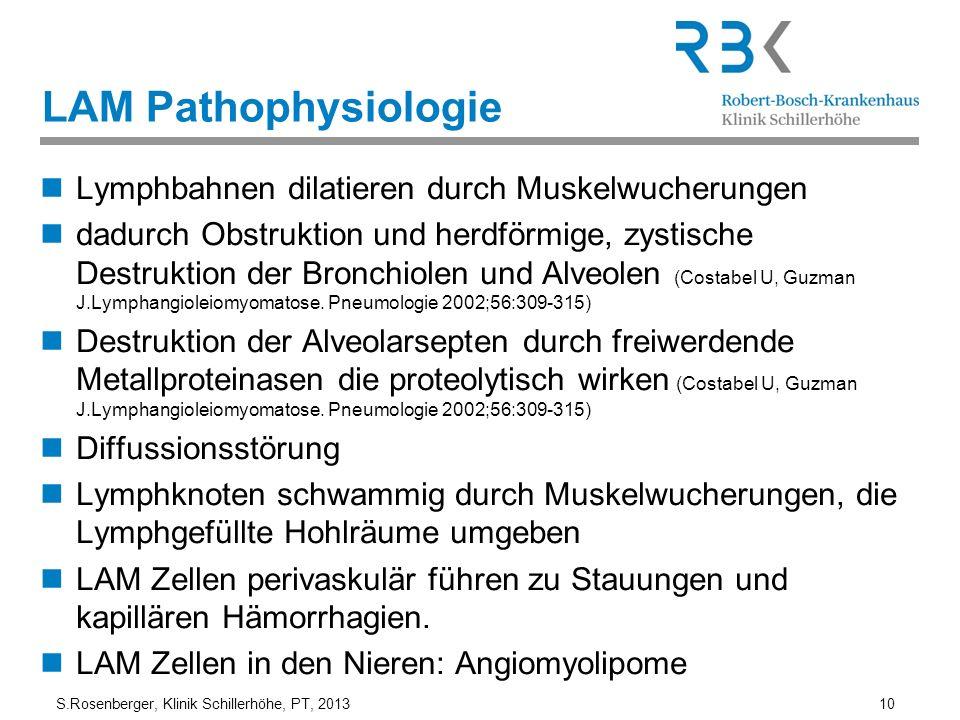 S.Rosenberger, Klinik Schillerhöhe, PT, 2013 10 LAM Pathophysiologie Lymphbahnen dilatieren durch Muskelwucherungen dadurch Obstruktion und herdförmig