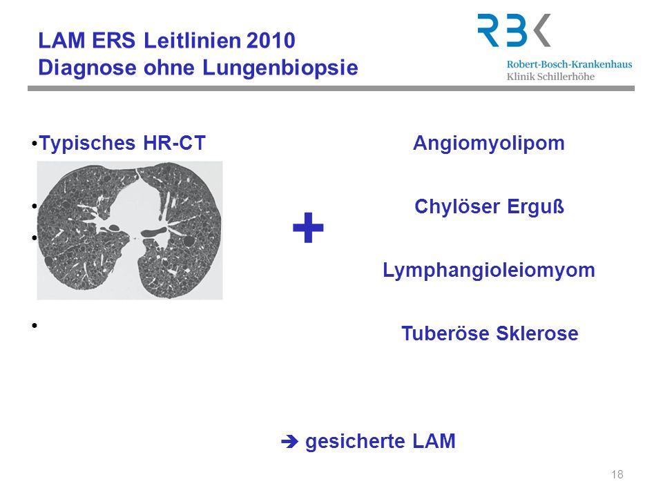 LAM ERS Leitlinien 2010 Diagnose ohne Lungenbiopsie Typisches HR-CT Kennzeichen der LAM: 18 gesicherte LAM + Angiomyolipom Chylöser Erguß Lymphangiole
