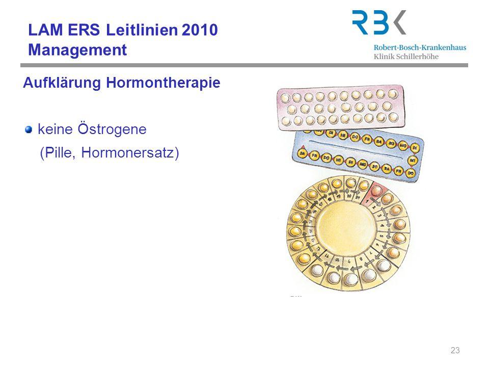 LAM ERS Leitlinien 2010 Management Aufklärung Hormontherapie keine Östrogene (Pille, Hormonersatz) 23