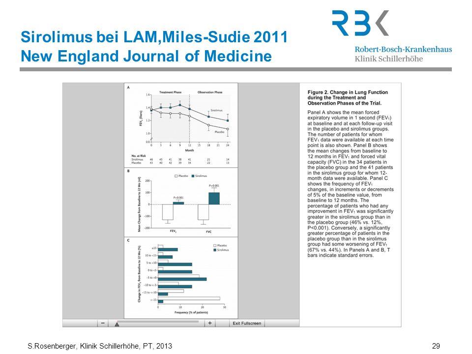 S.Rosenberger, Klinik Schillerhöhe, PT, 2013 29 Sirolimus bei LAM,Miles-Sudie 2011 New England Journal of Medicine