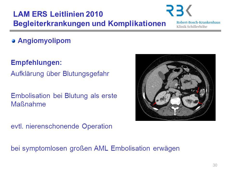 LAM ERS Leitlinien 2010 Begleiterkrankungen und Komplikationen Angiomyolipom Empfehlungen: Aufklärung über Blutungsgefahr Embolisation bei Blutung als