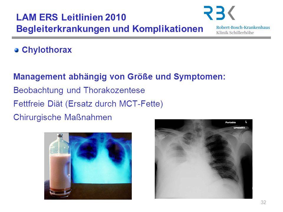 LAM ERS Leitlinien 2010 Begleiterkrankungen und Komplikationen Chylothorax Management abhängig von Größe und Symptomen: Beobachtung und Thorakozentese